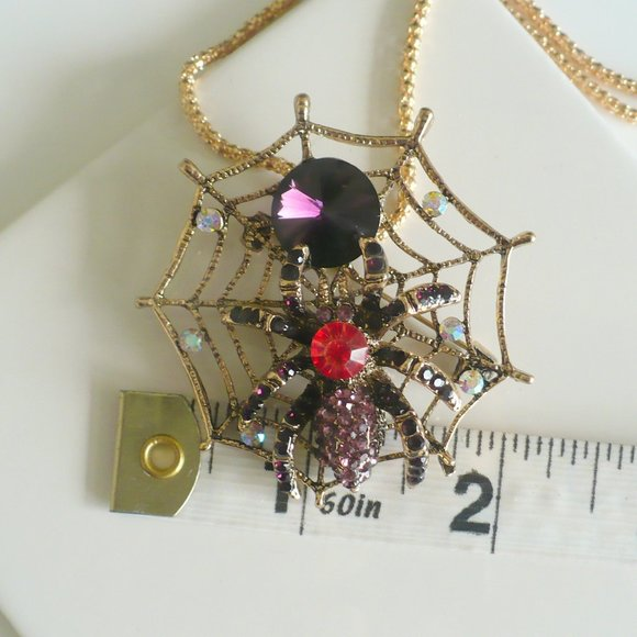 ❤️ NEW Necklace & Pin Spider Purple & Red